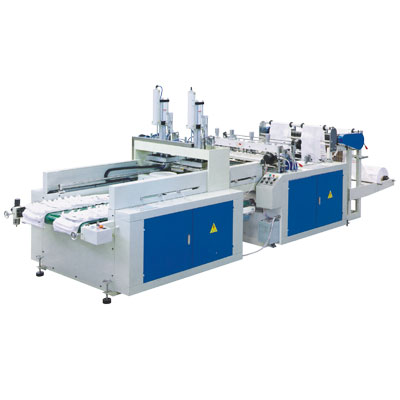 SDFR-400x2 Automatic High Speed Double Channel T-shirt plastic Bag making equipment
